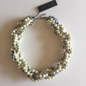 Ann Taylor • Tweed & Pearls Statement Necklace